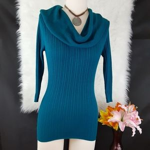Maurice's Blue Cowl Neck Sweater Size S